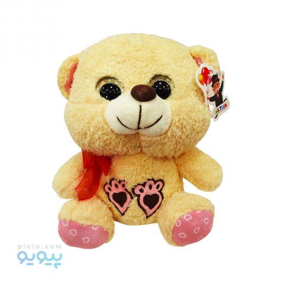عروسک خرس چشم تیله ای مدل پنجه قلبی