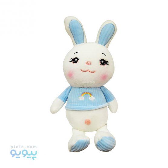 عروسک خرگوش لباس کبریتی طرح رنگین کمان