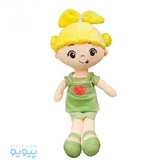 عروسک دختر مو طلایی با گل سر پاپیونی